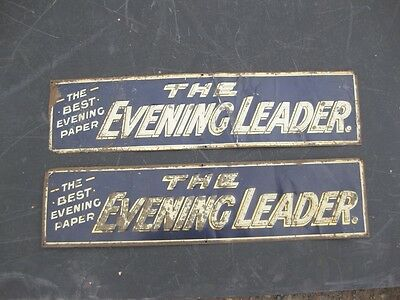 22247 Old Tin Sign nto Enamel Advert Wrexham Welsh Evening Leader Newspaper x 2