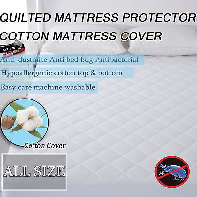 Anti Dust Mite Quilted Mattress Protector Cover Breathable Full Fitted Cover