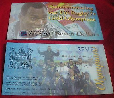 2017 Fiji $7 Seven Dollars FOLDER Rio Olympics Rugby Gold Commemorative Note UNC