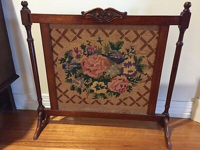 Antique fireplace screen tapestry