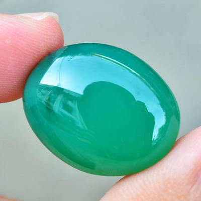 22.67ct Natural Cabochon Unheated Green Chalcedony Africa #W