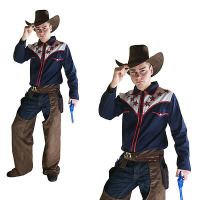 fancy dress rodeo cowboy costume adult wild western stag part mens m/l .
