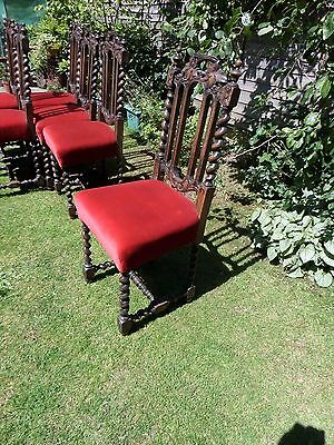 Set Of 6 X Lovely Victorian Carved Oak Chairs.