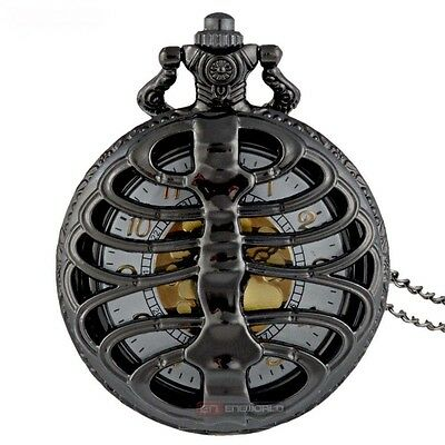 Black Skeleton Ribs Steampunk Goth Pocket Watch Golden Dial Pendant Necklace
