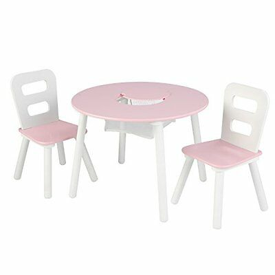 KidKraft Round Table And 2 Chair Set, White/Pink