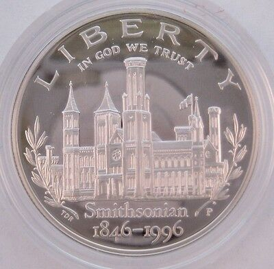 1996 P U.S. Smithsonian Institution 150th Anniversary Comm. Proof Silver Dollar