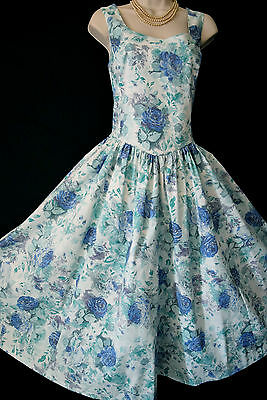 VINTAGE LAURA ASHLEY 1950s STYLE BLUE ROSE BOUQUET SUMMER DIVA SUN DRESS, UK 14