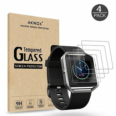 4 Pack Fitbit Blaze Smart Watch Tempered Glass Screen Protector HD Clear 9H New