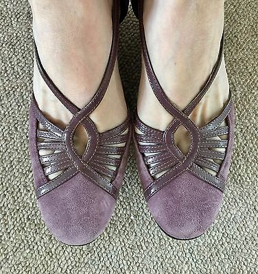 1940S Wartime Pin Up Design Clarks Purple Mary Jane Wedge Shoes Size 4