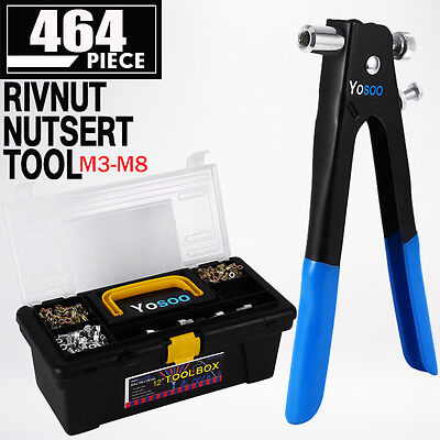 464 Piece Blind Rivet Nut Rivnut Nutsert Insert Tool Kit M3 to M8 Rivnuts w/ Box