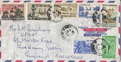 M 1132 Vietnam 1965 airmail cover UK; 7 stamps