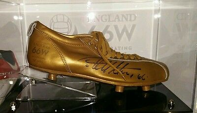 Geoff Hurst 1966 World Cup 50th Anni signed Golden Football boot in perspex case