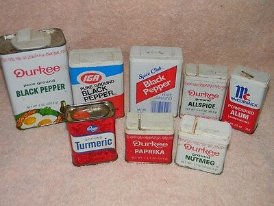 8 Vintage Metal Spice Tins, Containers, Durkee, Spice Club, McCormick & Kroger