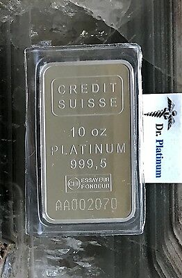 Credit Suisse with Assay Certificate, 10 Ounce, 999.5 Platinum Bar