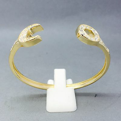 KIDS 13.5cm SPANNER BANGLE 9CT GOLD ON 925 STERLING SILVER ZIRCON STONE SET