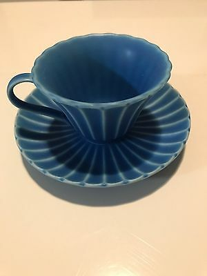 Blue Anthropologie tea cup and saucer