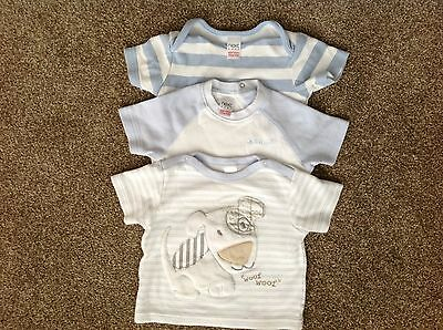 Next baby boy blue & white t-shirts - age 0-3 months