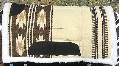 Wool Navajo Saddle Pad Synthetic Wool Backed Beige
