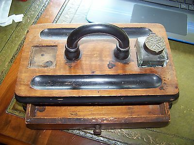 Vintage Wooden Desk Tidy & Glass inkwell