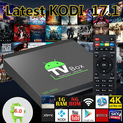 2017 MS8-MINI 4K PRO Quad Core Android 6.0 TV Box FILM live KODI Media Player UK