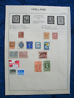 Eight Old Album Pages with Netherlands / Holland Stamps.