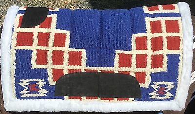 Wool Navajo Saddle Pad Synthetic Wool Backed Blue Red