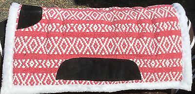 Wool Navajo Saddle Pad Synthetic Wool Backed Pink White