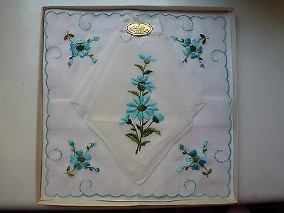 Vintage 1960s Cotton Lawn Embroidered Hankerchiefs Swiss made boxed
