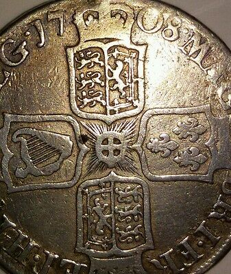 Reduced to clear - HALF CROWN QUEEN ANNE silver coin 1708 post union. Collector