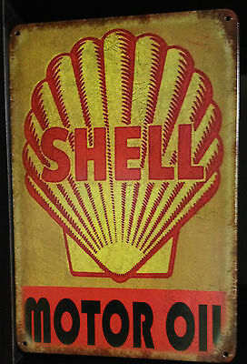 SHELL Tin Metal Sign Rustic Look .. MAN CAVE . brand new. AU SELLER