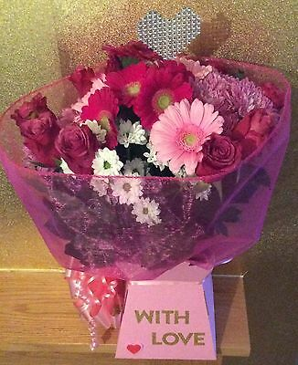 Deluxe Fresh Flowers Delivered~Mixed Pink Bouquet~Free Message Birthday~Gift Box