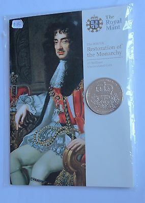 2010 Royal Mint  Restoration Of The Monarchy 350Th Ann.  Five Pounds £5 Bu Coin