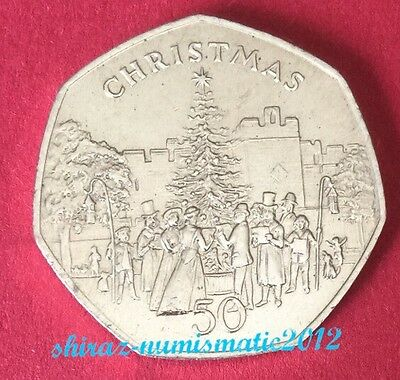 1982 Isle of Man Christmas 50p Fifty Pence Coin  Castle town UNC