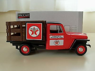 Spec Cast Colwell Oil Co. / Texaco 1953 Willys Jeep Stake Bed - Bank / Diecast
