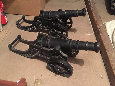 """Pair Large Cast Iron Cannons Canon Military Antique Military """"Attic Find"""""""