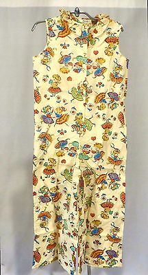 Vintage Girls Pajamas Palazzo Pants Romper Overall Dead Stock sz 12 Novelty Fab