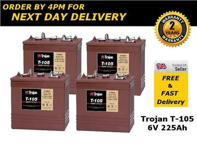 4x Trojan T105 Narrow Boat Deep Cycle Batteries 6V 225Ah - 2 Yrs Wnty