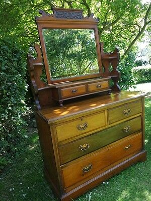 Edwardian solid walnut Dressing Chest - hand carved detail in lovely condition