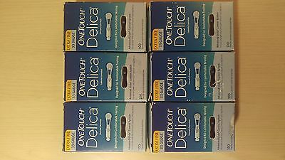 One Touch Delica Lancets 33g Extra Fine 6*100 Count NEW, UNOPENED  FREE SHIPPING