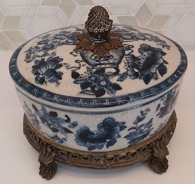 Oriental Blue & White Pot with Lid - Bronze Handle and Base.