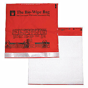 UNIMED MIDWEST INC Bio-Wipe Bag 11-1/2 x 12 In,PK10, MLBM015111, Red
