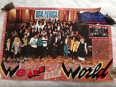 Vintage USA For Africa Michael Jackson Cyndi Lauper Diana Ross 1980's Poster