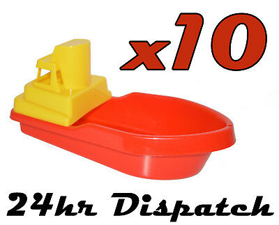 10 X Large Red Push Along Bath Toy Tug Ferry Plastic Boat Beach Paddling Pool
