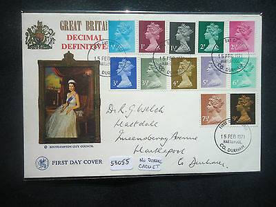 Great Britain 1971 decimal machin definitives (no strike cachet) First Day Cover