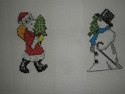 Two Completed Cross Stitch Christmas Pieces