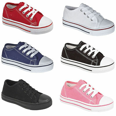 Childrens Classic Girls Boys Lace Up Canvas Plimsoll Trainers Flat Shoes Size AU