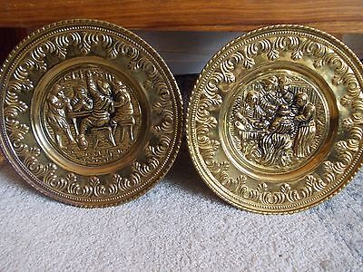 """Pair of vintage brass wall hanging plates, tavern scenes, 11.5"""""""