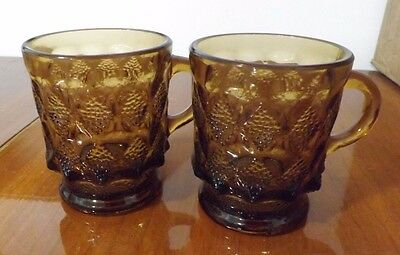 Fire King Kimberly Amber Brown Coffee Mugs - Lot Of 2