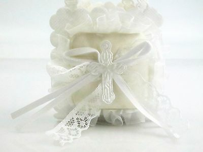 2x Christening First Holy Communion Baptism Bonbonniere Lacey Cross Favour Bags