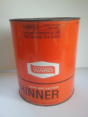 Vintage Montgomery Wards Paint and Varnish Thinner Tin Can 1 Gallon